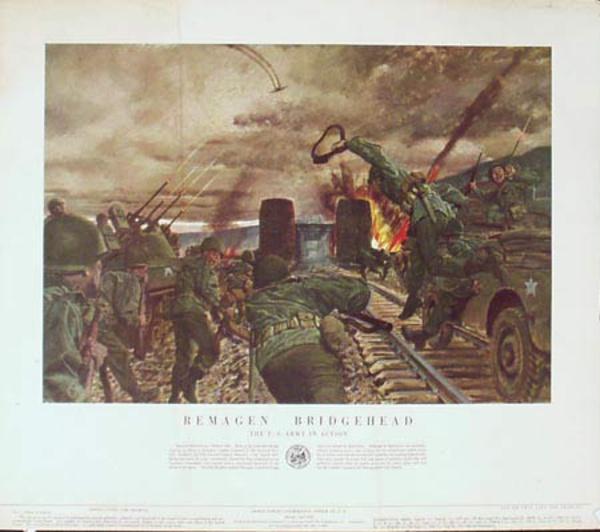 Remagen Bridgehead U.S. Army in Action Original Vintage Army Propaganda Poster