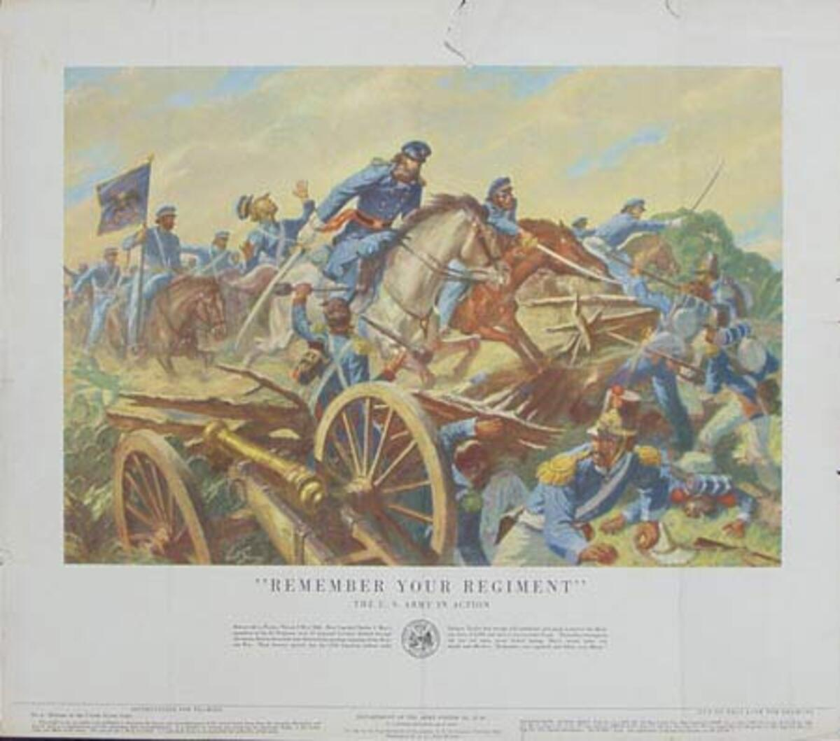 Remember Your Regiment U.S. Army in Action Original Vintage Army Propaganda Poster
