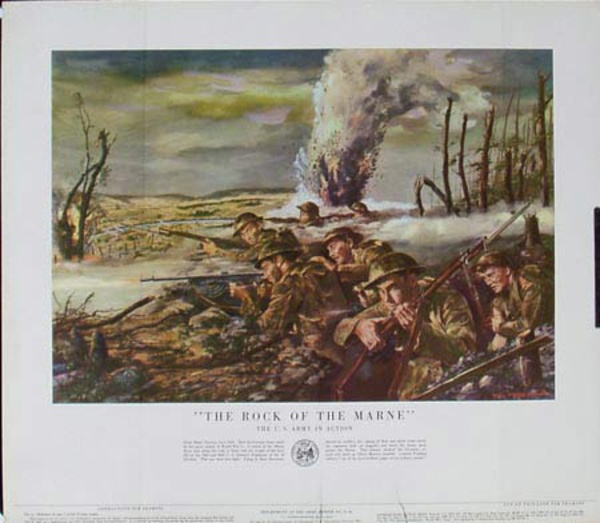 The Rock of the Marne U.S. Army in Action Original Vintage Army Propaganda Poster