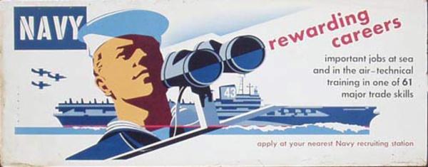 Rewarding Careers Korean War Era Navy Recruiting Poster