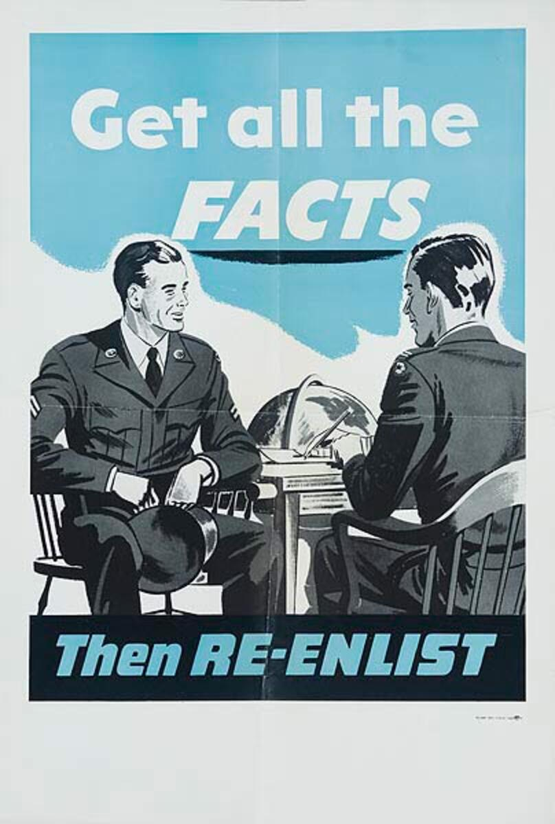 Get All The Facts Then Re-Enlist Original Korean Era Army Recruiting Poster
