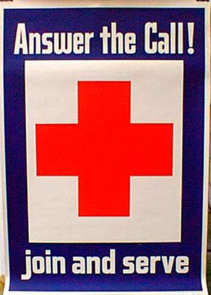 Red Cross Join and Serve Original Vintage  Poster