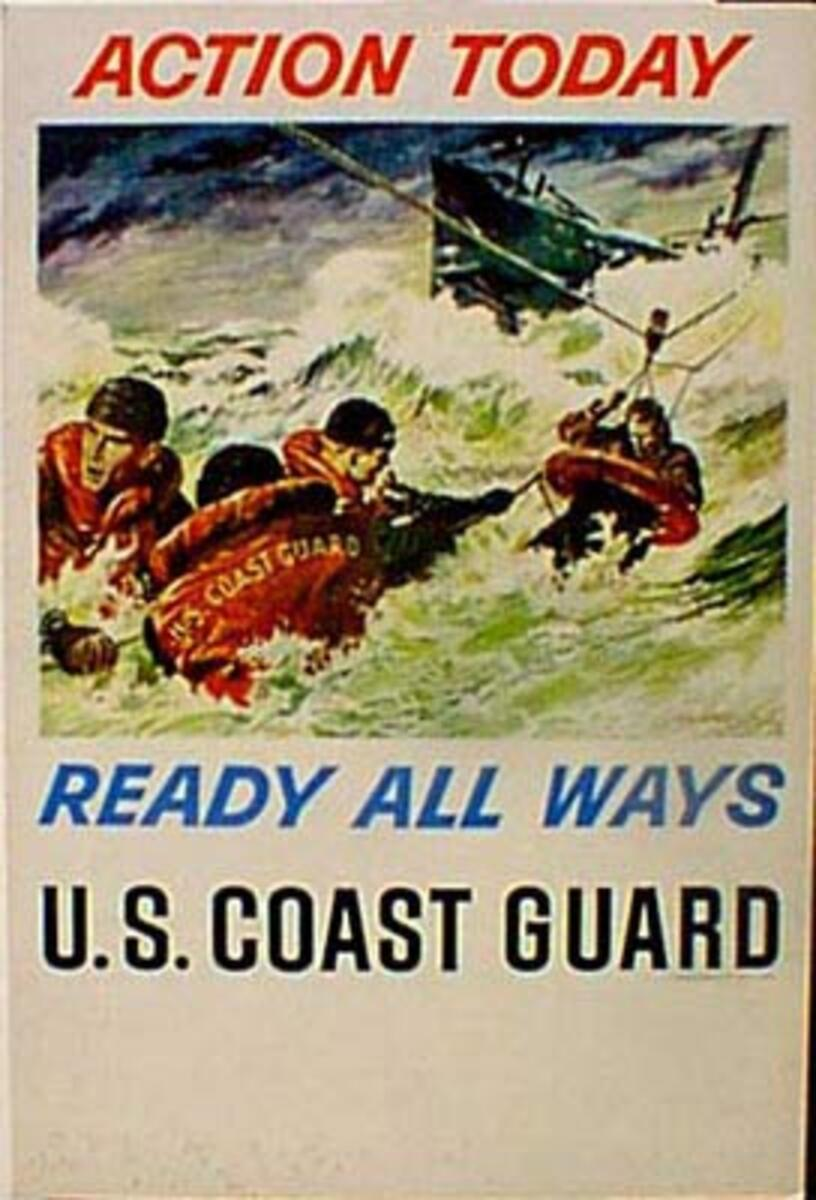 Action Today Original Vintage US Coast Guard Recruiting Poster