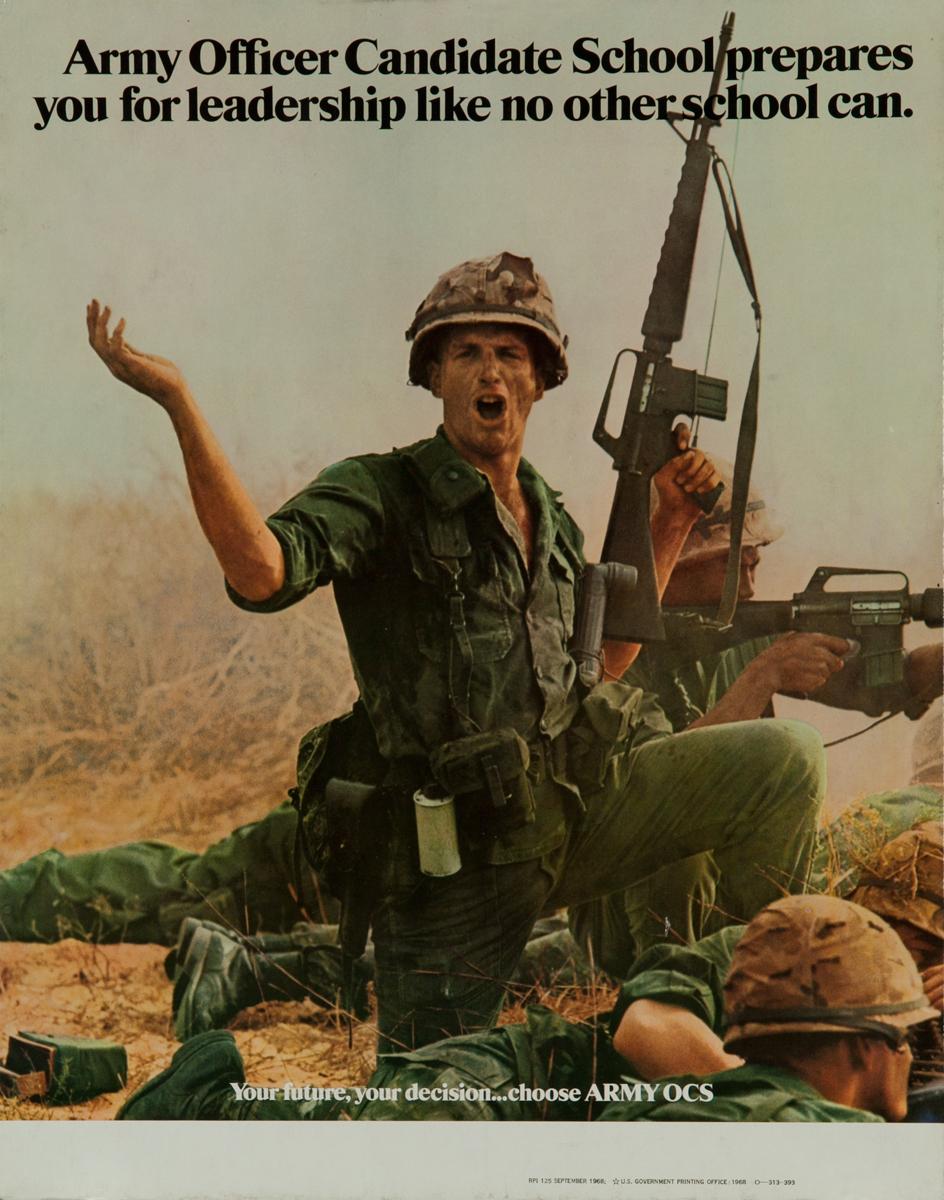 Officer Candidate School Original Vintage Vietnam Army Recruiting Poster