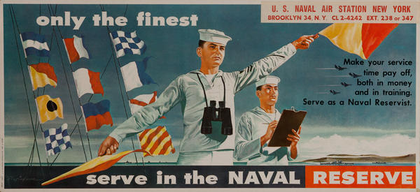 Only The Finest Serve in the Naval Reserve Original Vietnam Era Recruiting Poster