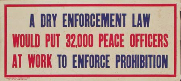 Original Vintage Anti Prohibition Repeal Poster, A Dry Law Enforcement Would Put 32,000 Peace Officers At Work