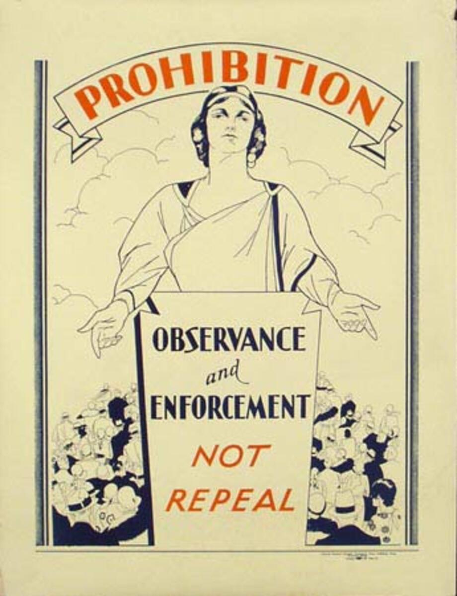 Original Vintage Prohibition Not Repeal Poster