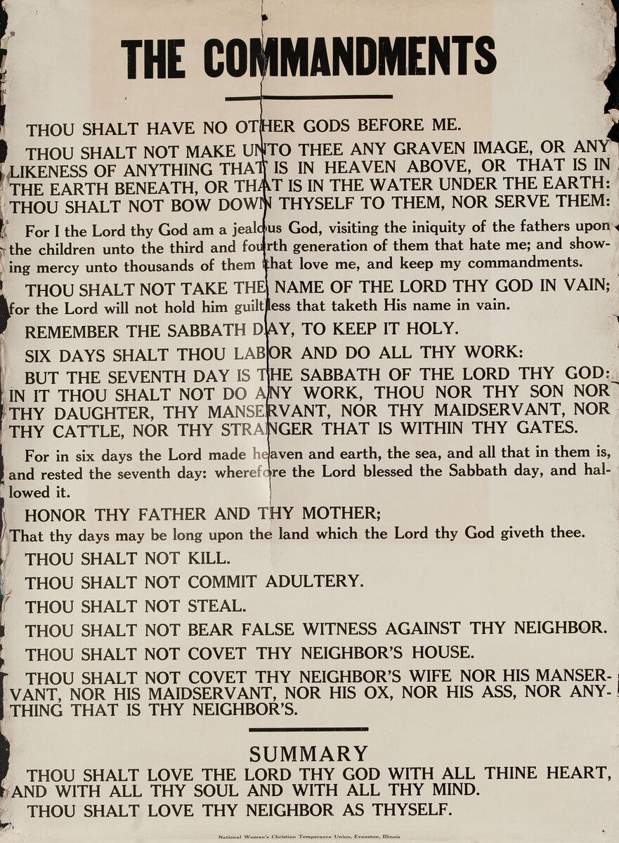 Original Vintage Anti Prohibition Repeal Poster, Ten Commandments