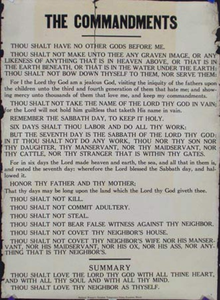 Original Vintage Anti Prohibition Repeal Poster, Ten Commandments