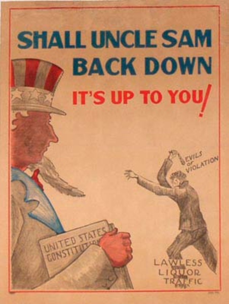 Original Vintage Anti Prohibition Repeal Poster Shall Uncle Sam Back Down
