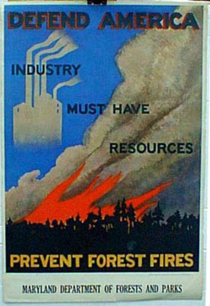 Original Vintage Defend America Fire Prevention Poster