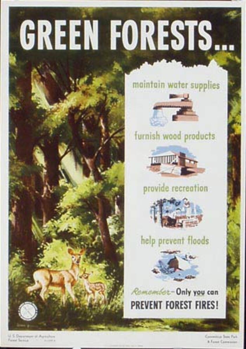 Green Forests Prevent Forest Fire Original Vintage Fire Prevention Poster