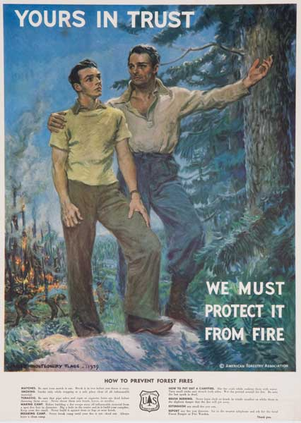 Original Vintage Yours In Trust Fire Prevention Poster