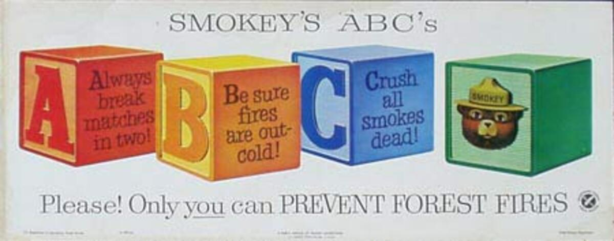 Smokey's ABC's Original Vintage Fire Prevention Poster