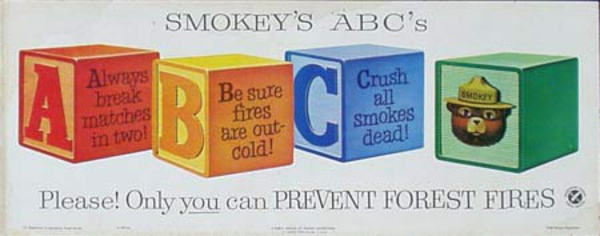 Smokey's ABC's Original Vintage Fire Prevention Poster