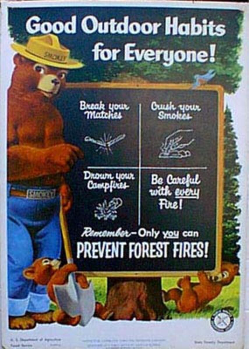 Smokey, Blackboard Original Vintage Fire Prevention Poster