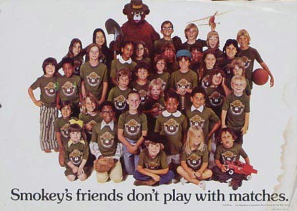 Smokey's Friends Don't Play With Matches Original Vintage Smokey Fire Prevention Poster