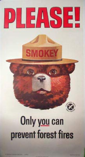 Original Vintage Smokey Bear HUGE 3 Sheet Poster PLEASE Only You Can Prevent Forest Fires