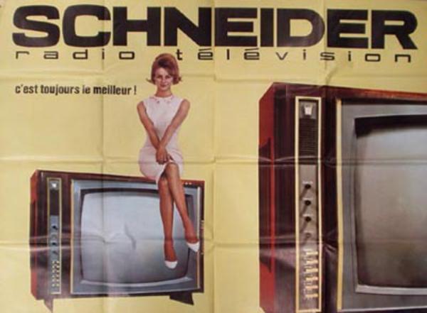 Schneider TV Original Vintage Poster lady on TV