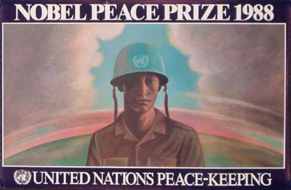 United Nations Original Poster U.N. PEACE-KEEPING  Nobel Peace Prize 1988