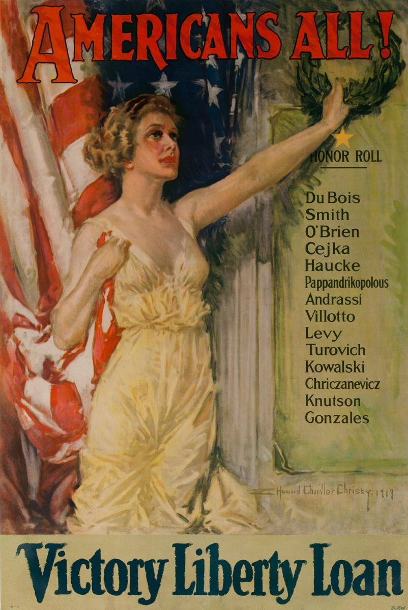 Americans All Original Vintage World War I Poster