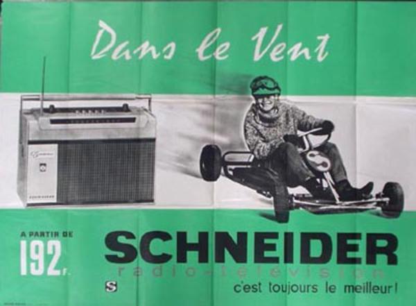 Schneider Radio Original Vintage Poster Go-Cart