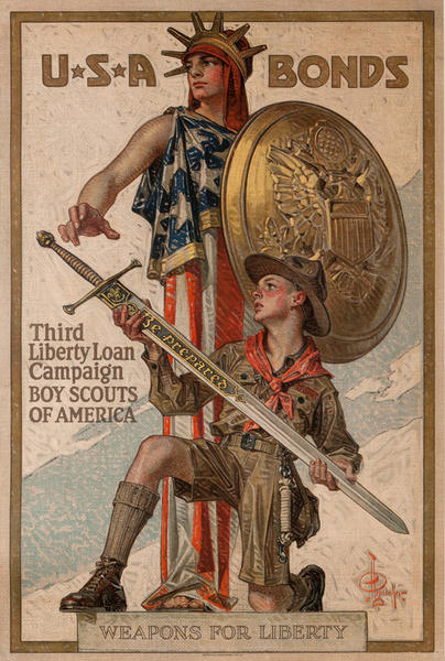 3rd Liberty Loan Boy Scouts Original Vintage WWI Poster