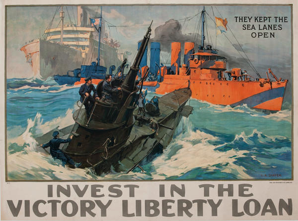 They Kept the Sea Lanes Open Original Vintage WWI Poster