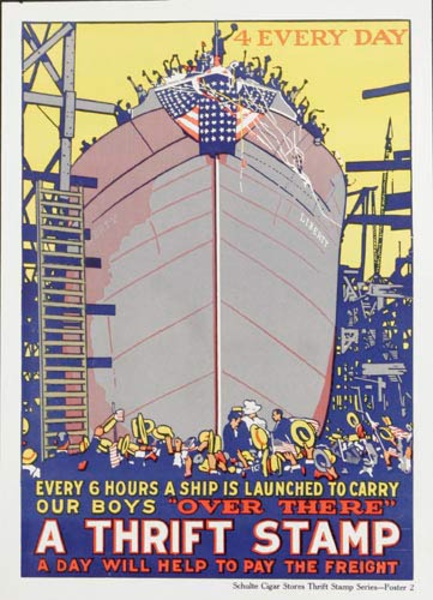 4 Every Day Ship Launching A Thrift Stamp Every Day Original American WWI Poster