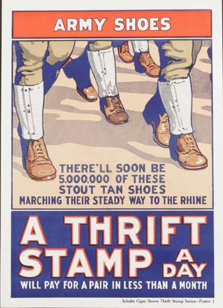 Army Shoes A Thrift Stamp Every Day Original American WWI Poster