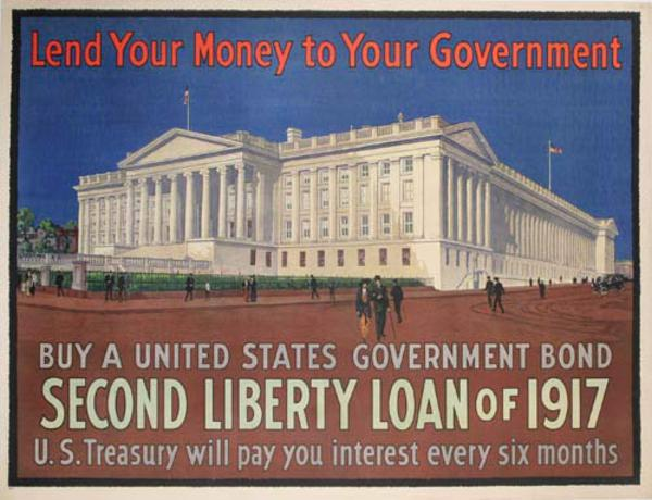 Lend Your Money to Your Goveernment - US Treasury Building 2nd Liberty Loan Original WWI  Poster
