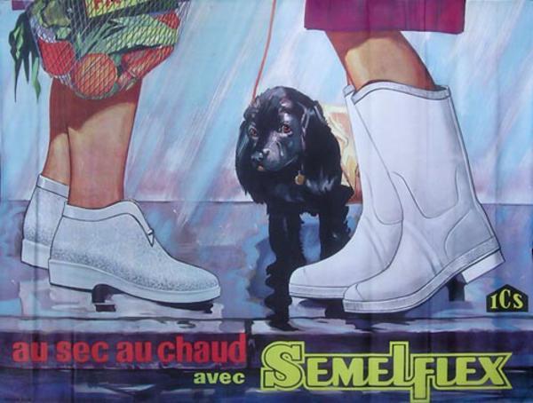Semelflex Rain Boots Original Vintage French Advertising Poster