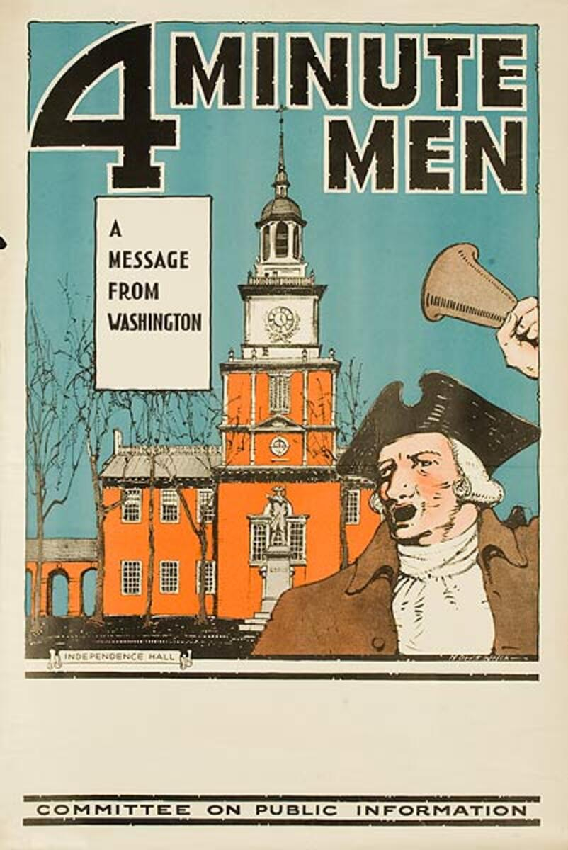 4 Minute Men a Message From Washington Original World War One Poster