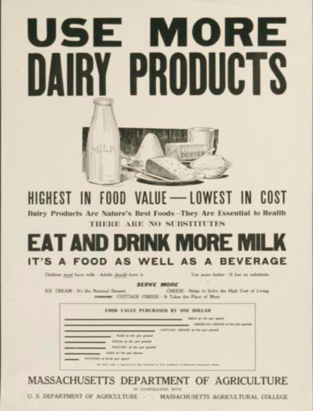 Use More Dairy Products Original World War One American Poster