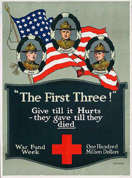 The First Three Give Till It Hurts Original American WWI Red Cross Poster