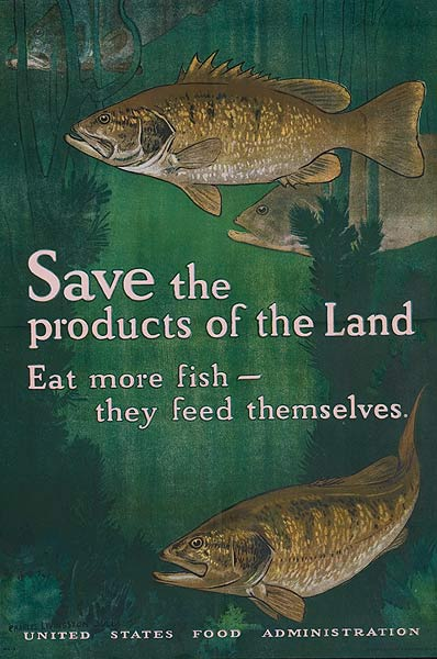 Save The Products of the Land Eat More Fish They Feed Themselves Original WWI Homefront Poster