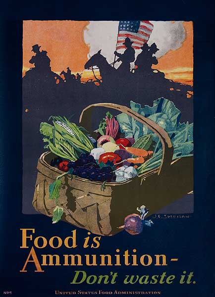 Food Is Ammunition, Don't Waste It Original Vintage World War I Poster