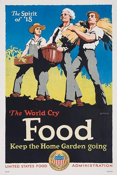 The World Cry FOOD Original Vintage World War I Poster