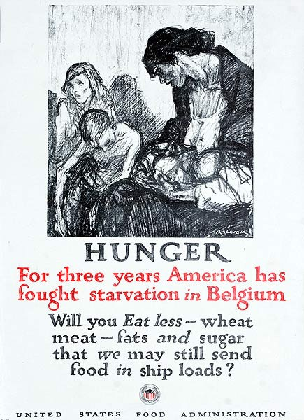 Hunger US Food Administration Original American WWI Poster