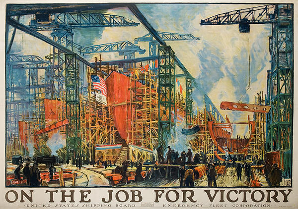 On The Job For Victory Original WWI Poster Shipyard Scene