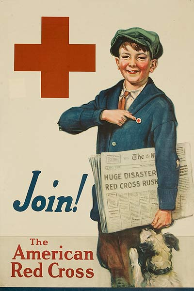 Join The American Red Cross Original American WWI Poster Paper Boy