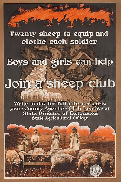 Join a Sheep Club Original American WWI Poster