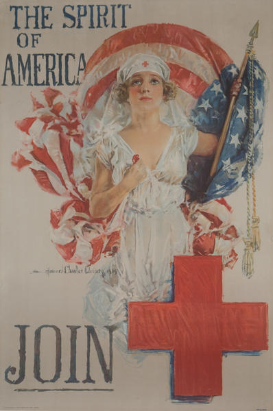 The Spirit of America Join the Red Cross Original WWI Homefront Poster