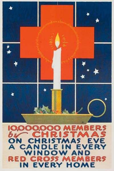 10,000.000 New Members Original American WWI Red Cross Poster candle in front of Red Cross