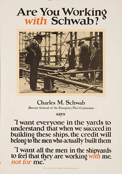 Are You Working With Schwab Original American WWI Poster