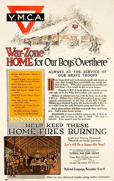 YMCA War Zone Home for Our Boys Overthere Original American WWI Homefront Poster