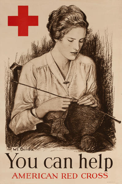 You Can Help Original American WWI Red Cross Knitting Poster