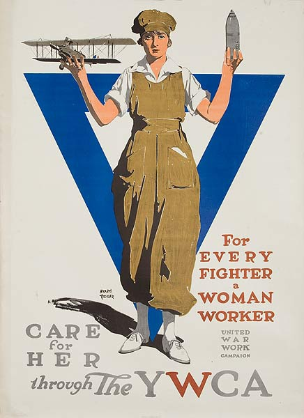 For Every Fighter a Woman Worker Original WWI YWCA Poster