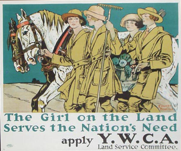 The Girl on the Land Serves the Nation's Needs Apply Y.W.C.A. Original Vintage WWI Poster