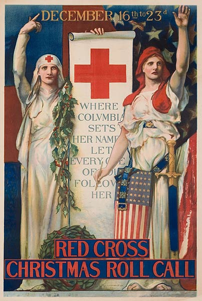 Red Cross Christmas Roll Call Original Vintage WWI Poster  Blashfield